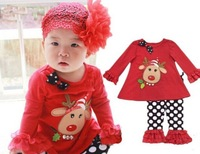 in stock D044 2014 New Retail Cute Deer Babys Christmas Clothes Long-Sleeve Girls Clothing Sets Kids Good Quality Suits