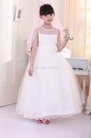 Retail 2014 Children New wedding dress girls princess dress long lace white party dresses free shipping