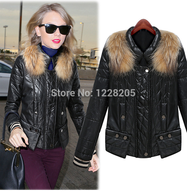Thick black PU Jacket for women faux leather motorcycle jackets with natural fur collar winter lady leather jacket zipper coat(China (Mainland))