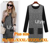 4XL 5XL Plus Size Vestidos Femininos Women Winter Dress Europe Plus Size Long Sleeve Women Clothing Inner Dress XL 2XL 3XL 4XL
