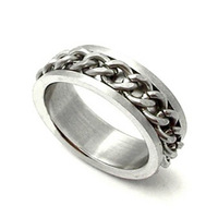 New fashion 316L steel 6MM wide flat ring chain wrapped gift retro punk gothic silver jewelry