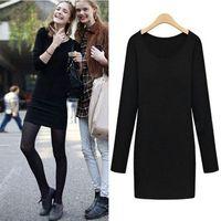 XXXXXL Plus Size Women Clothes O-neck Elastic Solid Black Slim Fit Long Sleeve Bodycon Casual Dress New 2014