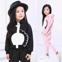 Girls Clothing Sets long sleeve Hoodies+ Pants Children   Kids Cartoon Suits Babys Girls Sets black,pink