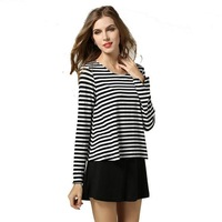 5XL Plus Size Casual Fake two piece Dress Long Sleeve Patchwork Striped Loose Women Clothing New 2014