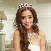 Fashion nobility princess white crystal pearl tiaras wedding charming diadem wedding dress rhinestone crown jewelry