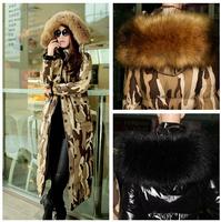 Winter Jacket Women 2014 New Camouflage Winter Coat Women Down Jacket Large Fur Collar Plus Long Slim Thick Parka Plus Size 4xl