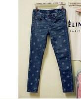 2014 new Free Shipping Fashion Star Print Women's Jeans Slim Pencil Skinny Denim PantsTrousers