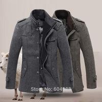 Men's Wool Coats Jacket Parka Slim Winter Trench Overcoat Outerwear