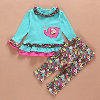 2015 spring in stock 4 Sets/lot 1-2Years Girl Super Nice High Quality Baby Blue Elephant Embroidery T shirt and Pants Outfits