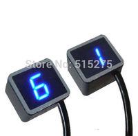 Free Shipping Blue Light LED Universal Digital Gear Indicator Motorcycle Display Shift Lever Sensor