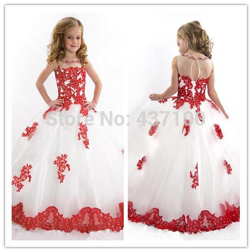 Princesse rouge robe de bal robe de demoiselle longueur de plancher Appliques petites filles parti robe de mariée 2014 robe de première Communion(China (Mainland))