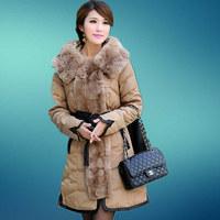 2014 New Fashion women winter jacket Long Style Large fur collar Zipper Slim Thicken coat Women duck down jacket 4 colors