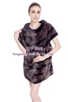 BG80151 Genuine Stripes Mink Fur Vest New Style Women Winter Clothing Plus Size Free Shipping