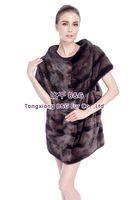 BG80151 Genuine Stripes Mink Fur Vest New Style Women Winter Clothing Plus Size Free Shipping