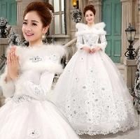 Professional custom new bride wedding Qi winter long-sleeved thick cotton word shoulder wedding dress plus