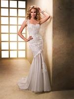 One Shoulder Luxury Alencon Lace Mermaid Trumpet Back Zipper Satin Tulle Wedding Dresses Bridal Gowns