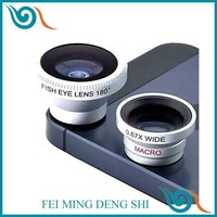 camera para lentes camera Magnetic 3 in 1 Wide Angle lens/Macro lens/180 Fish Eye Lens/ Kit Set for iPhone 5 /4 /iPad /Cellphone