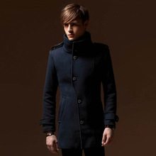 New 2014 Autumn And Winter Wool Coat Men Double Breasted Fashion Long Jacket Plus Size Male Trench Woolen Material Size 4XL 0476(China (Mainland))