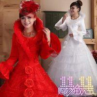 Professional custom new winter fashion long-sleeved cotton ornaments add warmth wedding bride