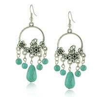 Good Quality New Design Vintage Silver Bohemia Turquoise Statement Ethnic Tibet Drop Dangle Earrings For Women Wholesale