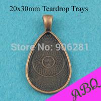 20x30mm Antique Copper Teardrop Pendant Setting, Teardrop Pendant Tray, Glass Cabochon Bezels