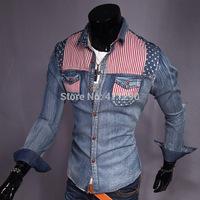 Men's denim clothing spell color printing cultivating long-sleeved denim long-sleeved shirt