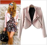 2014 New Arrival Women Pink Short Design Long Sleeve Zipper Jacket Autumn Casual Turn Down Collar Jacket Coat chaqueta mujer