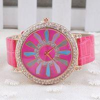 Fashion Watches Sunflower Pattern  PU Leather Band Rhinestone Watch,Quartz Wristwatch for Women ZMPJ564