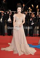 2015 Elegant  A-line Short Sleeve V-neck Crystals Beading Sequins Floor Length Ruched  Floor Length Evening Celebrity Dresses