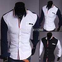 Men shirt hit the color striped long-sleeved shirt Men's Slim Stretch Shirts