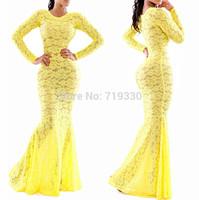 European Brand 2014 Women New Fashion Yellow Lace Long Dress Lady Sexy Club Party Swallowtail Dress Vestido Saia Free Shipping
