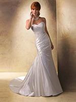 2014 New Arrival Women Long Sweetheart Beaded Column Pleated Ruffle Appliques Court Train Back Zipper Satin Wedding Dresses