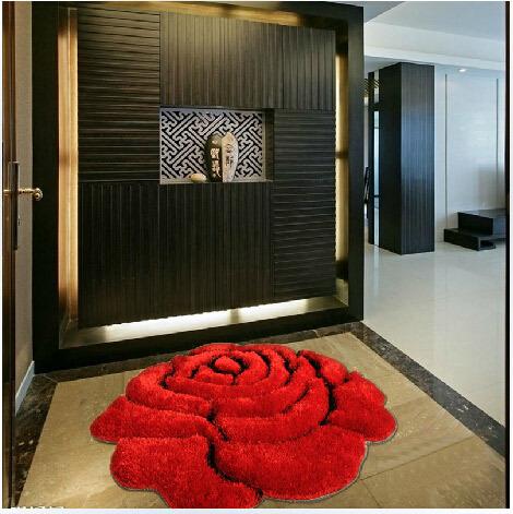 Wholesale 3D Rose Carpet Bedroom Rug Love Carpet Floor Three-dimensional Circle Home Decor Chair Mat Bedside Carpet 90*90cm(China (Mainland))