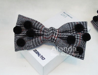 """12pcs/lot 5"""" Swallow gird hair bow Large plaid bow hair clip with small hairballs F81147 FreeShipping 3colors"""