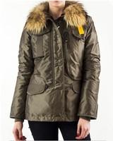 Hot Sale Denali Women Masterpiece Olive Army Green Down Parkas Jacket Short Winter Raccoon Fur Hooded Puffer Coat Outerwear 803