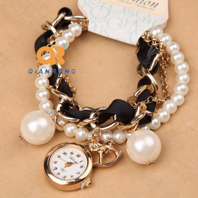 Watch With Pearl Bracelet Band Pearl Band Watch Charms