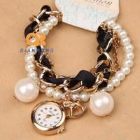 adjustable ladies elegance watches clock women bracelet Ribbon pearl band watch charms relogio feminino fashion girl's watch