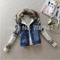 Free shipping 2015 Fashion plus wool jean jacket wool collar denim jacket winter coat slim sweaters patchwork jackets women