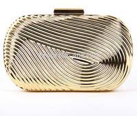 New Fashion  2014 Metallic Evening Bag Women's Stripe Pattern Metal Frame Concave Irregular Bag Clutch Purse Party Bag  0119A