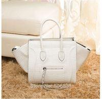 Celebrity European Brand Women's Fashion Vintage Crocodile Pattern Smiley Face Tote Bags 100% Gunuine Leather Large Handbag