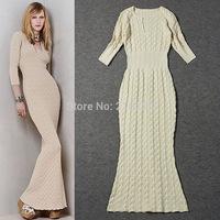2014 fashion autumn and winter women decorative pattern slim sweater formal dress full dress knitted fish tail one-piece dress