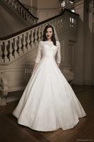 2014 lace high neck long sleeves muslim bridal wedding dress