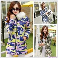 2014 Autumn Winter Women's Fur Collar Duck Down Coat Hooded Jacket Slim Long Outwear Plus Size XXL co1586