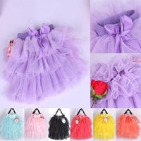 Retail Girl Skirt Cake Dance Skirt Children Girls Tutu Skirt Bowknot 6 Layers Yarns Latin Skirt for Baby Child Clothes 4Y-10Y
