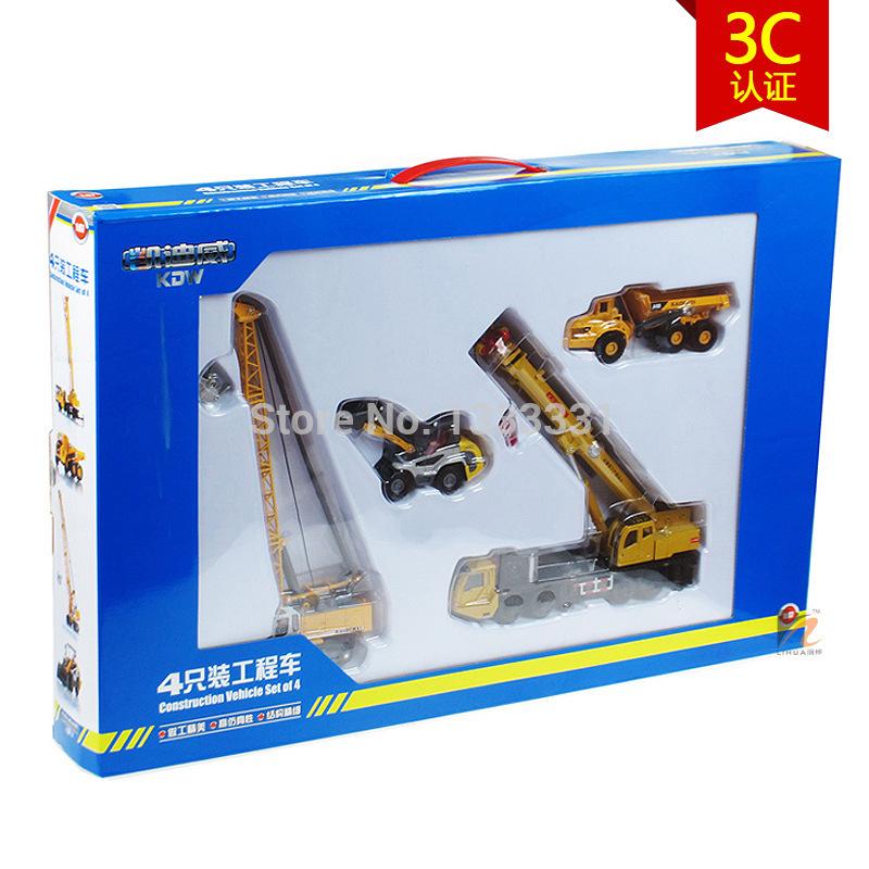 kaidiwei high quality alloy Engineering Vehicle model Wholesale children toy cars gift box 4pcs per set 1:50 truck series set(China (Mainland))