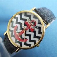 Hot Sell Fashion Ladies Geneva Anchor Style Wave Stripe  Women Men Dress Casual Analog Quartz Wrist Watches PU Leather