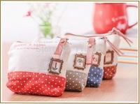 DHL Free Cute Dot patchwork women linen coin purse zipper key wallets girl mini bag carteira bolsas specail gift 300PCS