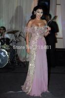 Off the Shoulder  Crystals Floor Length  Floor Length Evening Celebrity Dresses2015 Elegant  A-line Short Sleeve Sweetheart