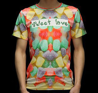 """SWEET LOVE "" Colourful Candy 3D Printed T-Shirt Women Men Tee Shirt Streetwear"