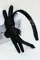 FreeShipping 12pcs/lot Cute MashiMaro headband Handmade lovely PU rivet Rabbit hairband PU braided wide headband  T81119